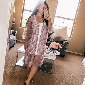 Grey and rose gold kimono